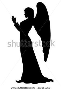 Praying Angel Silhouette. Figure of a female Angel, like a statue. - stock photo