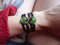 Wrap bracelet with briar rose fruits and moss in resin by zusnA