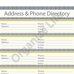 phone directory template