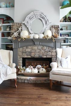 wood mantle with rock fireplace