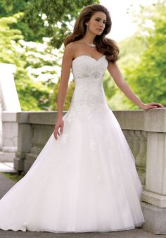 I like the waist on this one.  The Sweatheart shape is a nice one and I like the tapering of the detail from the bodice to the skirt.  David Tutera for Mon Cheri- 113231 Goldie @Bella Bridal