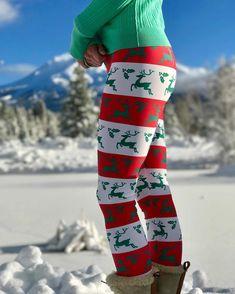 Christmas Red And White Reindeer Joy Leggings