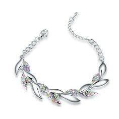 Bracelet en cristal (Multicolore)  Description: Bracelet magnifique en alliage plaqué or blanc sous forme de feuilles de saule, serti de petits cristaux multicolores. Le design vivant vous donne une impression dynamique.