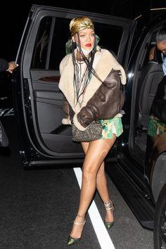 Rihanna Show, Rihanna Style, Rihanna Fenty, Celebrity News, Celebrity Style, Miami Fashion, Shearling Jacket, Mini Skirts, Fashion Outfits
