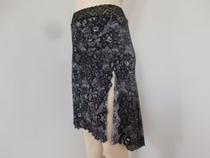 High Slit  Argentine Tango Skirt  / Jupe Size fits US 2 and 4  Milonga Dance Wear asymmetric black n white Lace Print by COCOsDANCEWEAR on Etsy
