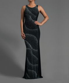 Take a look at this Symphony Black Sandy Waves Maxi Dress - Women on zulily today!