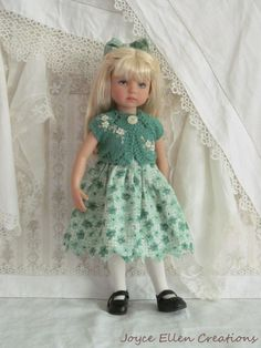 "13"" Effner Little Darling,BJD fashion green with hand knit OOAK handmade by JEC"