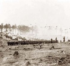 Soldiers Marching into Battle. Civil War.