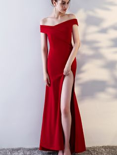 Wine Red Off The Shoulder Maxi Dress With Thigh Split | Metisu