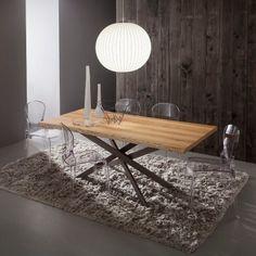 Tavolo da pranzo Arsenio fisso con piano in legno 170 x 100 cm