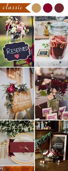 classic chalkboard burgundy wedding color ideas