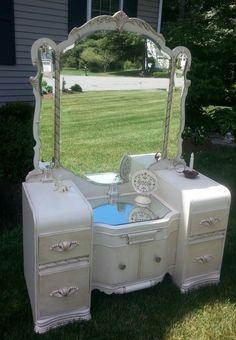 Beautiful Waterfall Style Vintage Vanity Redone by PERIWINKLES9256, $350.00