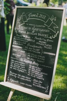 Love the chalkboard program idea; saves on printing costs!