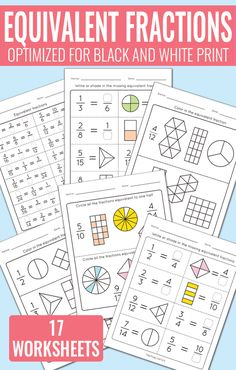 Equivalent Fractions Worksheets - Fractions Unit | Equivalent ...