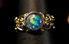 Stunning. 14K Solid Gold Opal ring. Genuine by AmyKJewels on Etsy