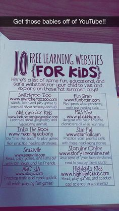 Learning websites for kids, Educational Websites, Learning Websites For Kids, Teaching Kids, Learning Sites, Learning Tools, Early Learning, Education Positive, Kids Education, Education Galaxy, Higher Education