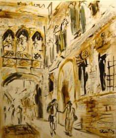 Barrio gótico de Barcelona pintura# ciutat Vella a Barcelona Cuadro#Pinturas sobre Barcelona# pinturas murales#