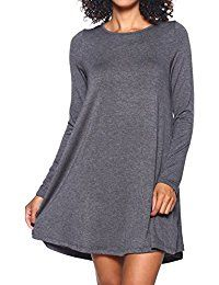14756d3d03a4d Stretchy Flowy Loose Fit Casual Work Cocktail Beach Lounge Evening Tunic  Dresses Regular and Plus Size LS Charcoal L >>> Check this awesome product  by going ...