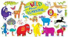 Bring the walls of your classroom to life with this collection of colorful jungle animals. A must-have for back to school!