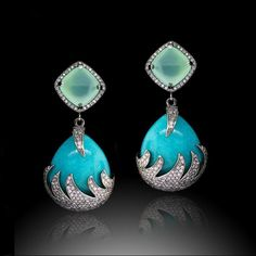 Colette earrings, set with Amazonite, turquoise and diamonds.