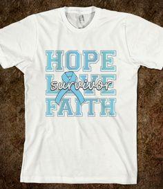 Prostate Cancer Hope Love Faith Shirts by www.giftsforawareness.com  #cancerawareness #awarenessribbonshirts #ProstateCancer