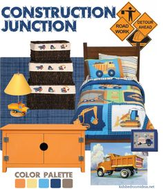 construction bedroom idea in blue and orange. Really like thew colour palette