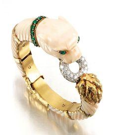 Coral, emerald and diamond bangle, David Webb