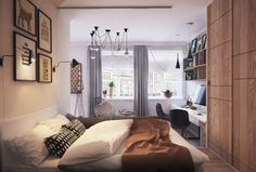 50 Square meters light on small apartment interior design. Small Apartment Plans, Small Apartment Bedrooms, Small Apartment Interior, Small Apartment Design, Small Bedroom Designs, Modern Bedroom Design, Small Apartments, Small Spaces, Tiny Bedrooms
