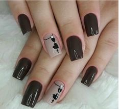 The advantage of the gel is that it allows you to enjoy your French manicure for a long time. There are four different ways to make a French manicure on gel nails. Perfect Nails, Gorgeous Nails, Trendy Nails, Cute Nails, Hair And Nails, My Nails, Dark Nails, Dark Nail Art, Gel Nail Designs