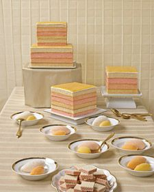 We made 8-inch and 6-inch cake layers, either 1 1/4 inches or 3/4 inches high, as shown in the photo. Finished cakes will serve 75.