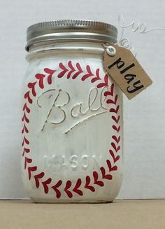 Used Folk Art Chalk paint, added details with small . - Chalk Art İdeas in 2019 Mason Jar Gifts, Mason Jar Diy, Crafts With Mason Jars, Mason Jar Bank, Jar Crafts, Bottle Crafts, Baseball Crafts, Baseball Party, Baseball Anime