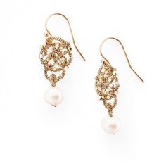 200 Danielle Welmond Woven Pearl Drop Earrings