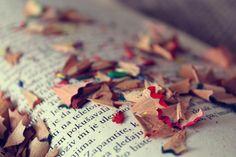 livros, leitura, cores, arte, vintage, lápis, aparas, cores