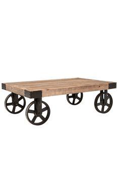 Sohvapöytä, jossa alla pyörät