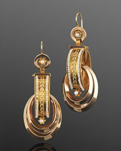 Antique Two-tone Gold and Seed Pearl Entwined Hoop Earrings, French, c. 1810