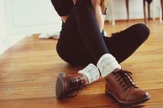 Brown shoes and ivory socks