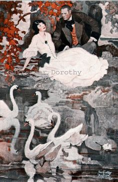 """""""Romance with Swans"""" (color plate), 1926 courtesy of The Country Gentleman. Image via Surrender Dorothy"""