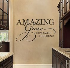 Artículos similares a Christian Wall Decal – Family Wall Decal – Bible Verse Wall Decal – Amazing Grace – Wall Decal – Vinyl Wall Decal – Bible Scripture en Etsy - wallquotes Kitchen Wall Quotes, Kitchen Wall Decals, Vinyl Wall Quotes, Wall Sayings, Quote Wall, Family Wall, Removable Wall Decals, Vinyl Wall Decals, Wall Stickers
