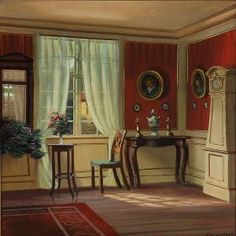 Frederik Wilhelm Svendsen (1885-1975): Living Room Interior With Red Walls