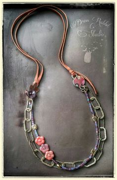 Bohemian necklace beaded leather artisan In by BrassRabbitStudio