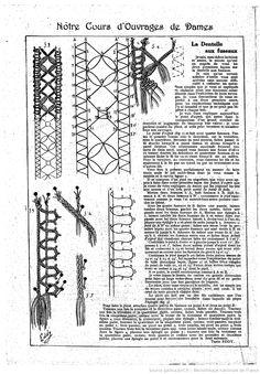 """La Dentelle aux fuseaux. Notre cours d'ouvrages de dames. Les Dimanches de la femme : supplément de la """"Mode du jour""""   1923/12/09 (A2,N92)"""