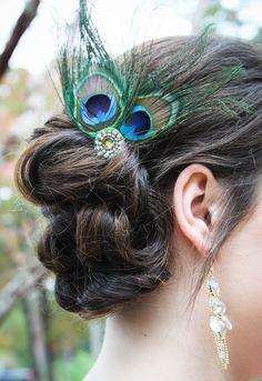Items similar to Peacock Wedding Bridesmaid Hair Fascinator on Etsy Peacock Theme, Peacock Wedding, Wedding Flowers, Wedding Hair Fascinator, Fascinator Hairstyles, Bridesmaid Hair, Wedding Bridesmaids, Wedding Pinata, Dream Wedding