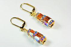 Stacked Cube Earrings Topaz Crystal Earrings by SmallestPlanet