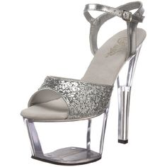 Pleaser Womens Sky310 Platform SandalSilver GlitterClear5 M US *** Want to know more, click on the image.