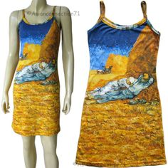 Van Gogh LA SIESTE New Hand Printed Fine Art Dress Misses S M L XL by PN #PN #Casual #VanGogh #Art #Dress #LaSieste