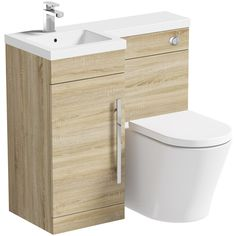 Orchard MySpace oak left handed unit with Eden back to wall toilet Bathroom Storage Units, Cupboard Storage, Bathroom Organisation, Compact Bathroom, Bathroom Toilets, Small Bathroom, Bathroom Ideas, Bathrooms, Contemporary Bathroom Furniture
