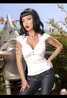 Laura Top in White Stretch Jersey by Pinup Couture