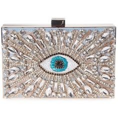 Gedebe Boxy Eye Embellished Metal and Suede Clutch (50,145 INR) ❤ liked on Polyvore featuring bags, handbags, clutches, azzurro, suede purse, suede leather handbags, suede clutches, embellished handbags and metal purse