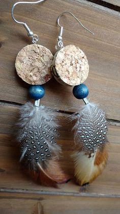 Feather Wine Cork Earrings