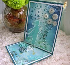by Stamping with Bibiana: Happy Birthday cards for Lavinia's Challenge # 5, using Nissa stamp in a twisted easel card. technique explained at my blog
